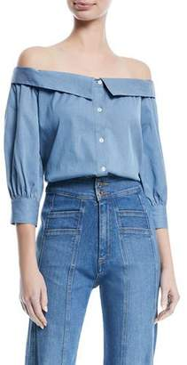 Veronica Beard Britta Off-the-Shoulder Button-Front Chambray Top