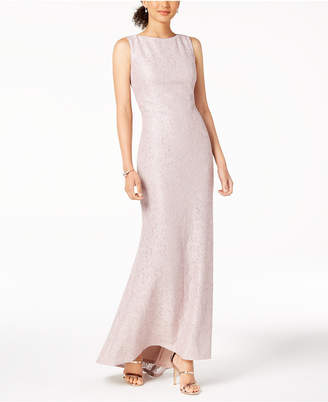 Vince Camuto Sequined Lace Scoop-Back Gown