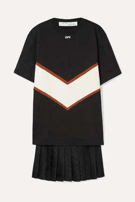 Off-White Panelled Cotton-jersey And Satin Mini Dress - Black