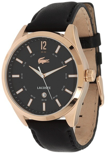 Lacoste Men's Montreal Watch 2010582 (Black Strap/ Rose Gold IP/Black Dial) - Jewelry