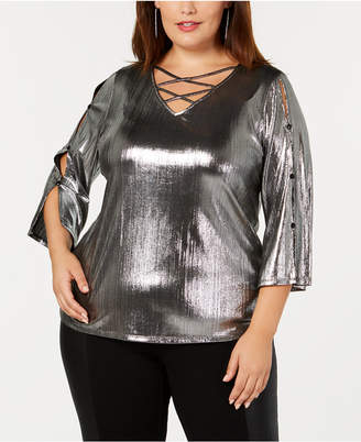 NY Collection Embellished Metallic Top