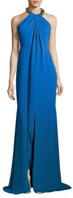 Carmen Marc Valvo Toga Embellished Neck Gown $1,075 thestylecure.com