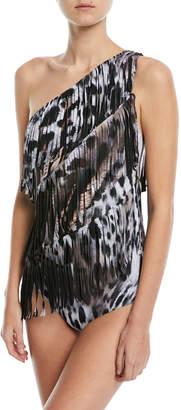 Chiara Boni Luny One-Shoulder Fringe Leopard Print One-Piece Swimsuit