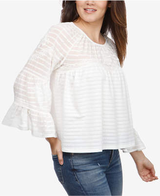 Lucky Brand Bell-Sleeve Shadow-Stripe Top