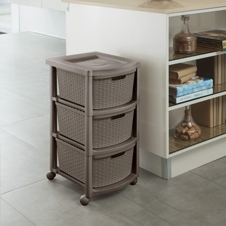 Rimax Casual Mocca Three Drawer Rolling Cart