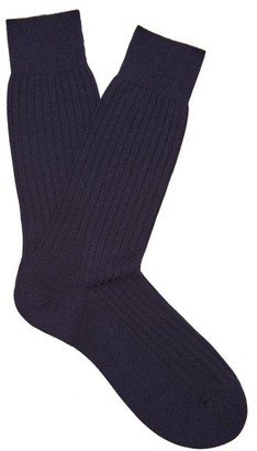 Pantherella Hemingway Wool Blend Socks - Mens - Navy
