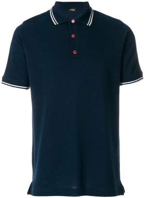 Kiton striped collar polo shirt