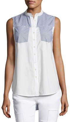 Derek Lam 10 Crosby Striped-Combo Sleeveless Shirt, Blue Pattern