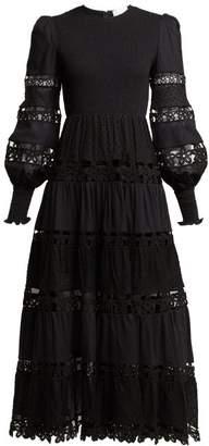 Zimmermann Primrose Lace Insert Cotton Dress - Womens - Black
