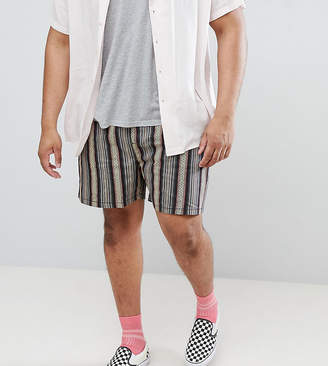 Asos DESIGN Plus festival slim shorts with elasticated waistband in gray geo-tribal stripe print
