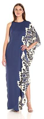 Halston Women's One Sleeve Boat Neck Printed Gown