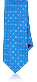 Barneys New York MEN'S SQUARE-PATTERN SILK NECKTIE-BLUE