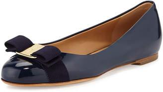 Salvatore Ferragamo Varina Patent Bow Ballerina Flat, Oxford Blue