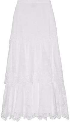 Miguelina Clarity Tiered Cotton Guipure Lace Maxi Skirt