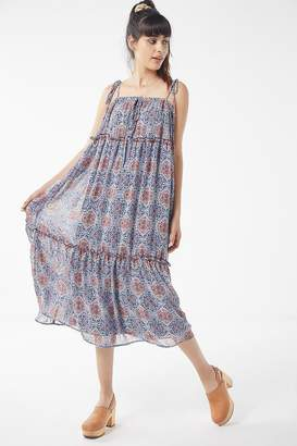 Urban Outfitters Floral Tie-Shoulder Tiered Ruffle Dress