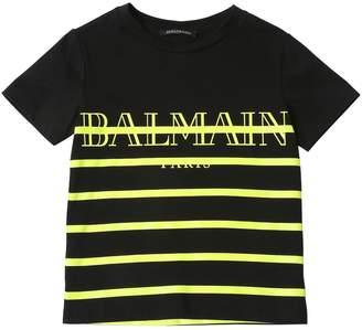 Balmain Logo Print Striped Cotton Jersey T-Shirt