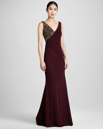 Badgley Mischka Couture Ruched Bead-Detail Gown