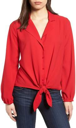 Gibson Relaxed Tie Front Top (Regular & Petite)