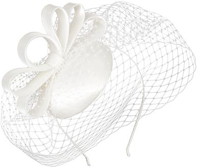 John Lewis Charlotte Veiled Bow Fascinator, Ivory