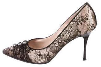 Rene Caovilla Lace Pointed-Toe Pumps