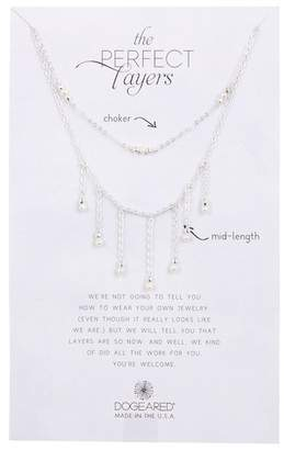 Dogeared Perfect Layers Dangling 3mm Freshwater Potato Pearl Necklace Set - Set of 2