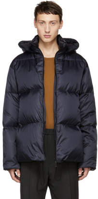 Jil Sander Blue Quilted Down Riversdale Jacket