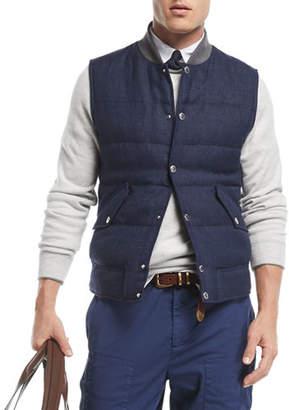 Brunello Cucinelli Quilted Linen/Wool Tweed Vest