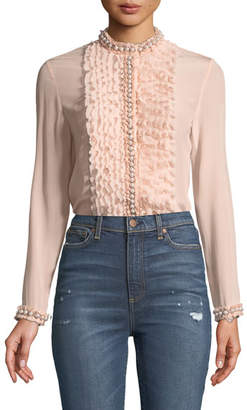 Alice + Olivia Arminda Button-Down Ruffled Chiffon Blouse w/ Pearlescent Trim, Blush