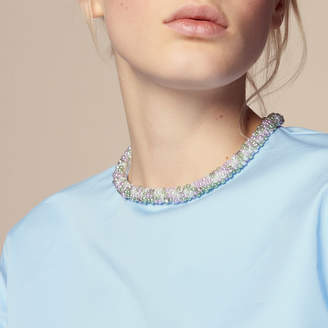 Sandro Top with beaded jewelled collar