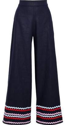Paper London Kelly Rickrack-Trimmed Ramie-Twill Wide-Leg Pants