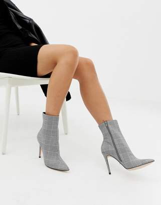 Faith Beck gray plaid check heeled ankle boots