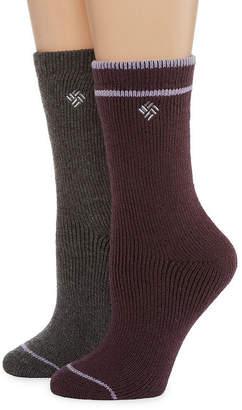 Columbia Womens 2-pk. Brushed Wool-Blend Fleece Crew Socks