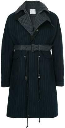 Sacai contrast layer pinstripe raincoat