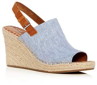 Toms Women's Monica Hemp Chambray Espadrille Platform Wedge Sandals