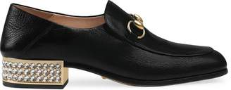 Gucci Horsebit leather loafers with crystals
