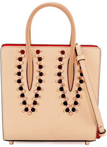 Christian Louboutin  Christian Louboutin Paloma Small Studded Leather Tote Bag, Neutral/Multi
