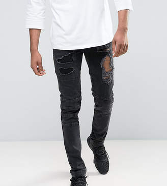 Asos Design TALL Skinny Jeans With Biker Zip And Rips Details In Washed Black