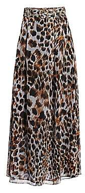 Nanushka Women's Ocelot-Print Chiffon Maxi Skirt