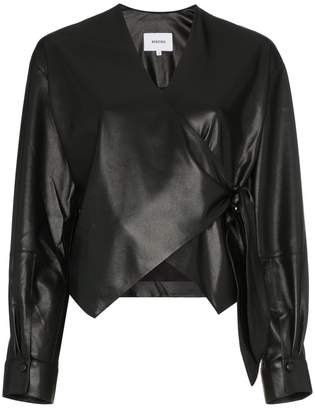 Nanushka Tribal V-neck vegan leather tie waist blouse