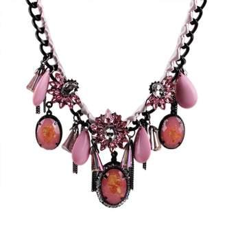 R & E Qiyun Alloy Chain Teardrop Resin Crystal Pendant Bib Chunky Necklace Alliage Cristal De Re sine De Larme Collier
