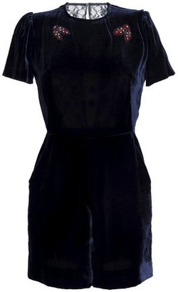 Sandro Cutout Embellished Velvet And Lace Playsuit