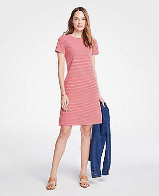 Ann Taylor Tall Stripe Knit Short Sleeve Shift Dress