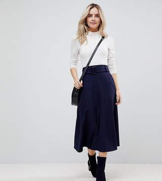 Asos Tailored Simple Midi Skirt With Selfbelt