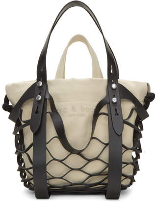 Rag & Bone Black and Off-White Camden Shopper Net Tote