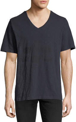 Pierre Balmain V-Neck Jersey T-Shirt with Black Crests