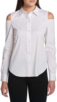 Donna Karan Cold-Shoulder Button-Down Shirt
