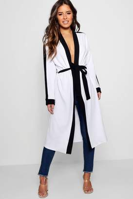 boohoo Petite Contrast Detail Duster