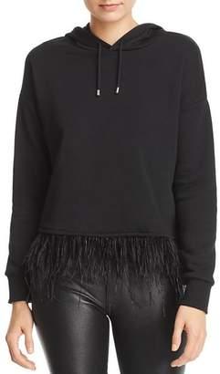 Aqua Ostrich Feather-Trim Hooded Sweatshirt - 100% Exclusive