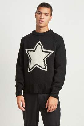 French Connenction Intarsia Star Shetland Wool Jumper