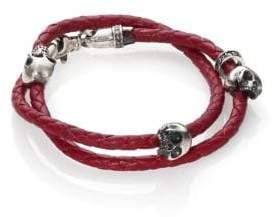 King Baby Studio Thin-Braided Double Wrap Leather Bracelet